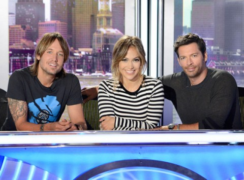 AmericanIdol judges Keith Urban, Jennifer Lopez and Harry Connick Jr. - Source: FOX