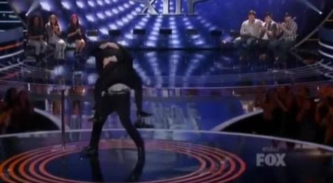 Caleb Johnson hugs Ryan Seacrest
