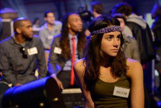 American Idol Hopeful prepares to sing