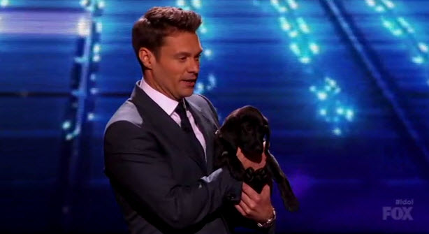 American Idol 2014 Top 2 Results – Ryan Seacrest and puppy Georgia