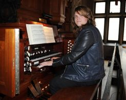 Caleb Johnson plays on the organ