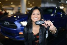 Jena Irene shows off the keys to her ride
