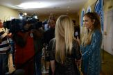 Jennifer Lopez talks with press at Idol auditions
