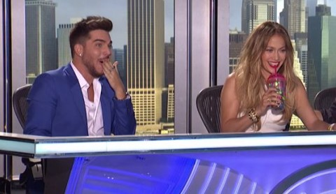 Adam Lambert at a judge on American Idol 2015 auditions
