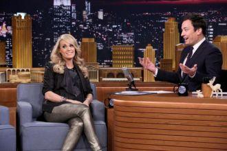 Carrie Underwood talks with Jimmy Fallon