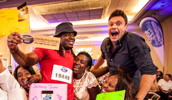 American Idol 2015 host Ryan Seacrest celebrates