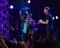 Aretha Franklin and Ryan Seacrest