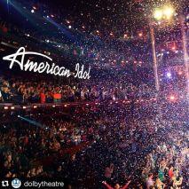 Confetti falls in Dolby Theatre