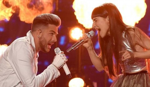 Adam Lambert performs with Laleh on American Idol