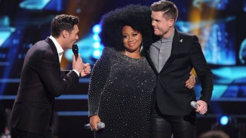 Ryan Seacrest with Idol's Top 2 La'Porsha & Trent