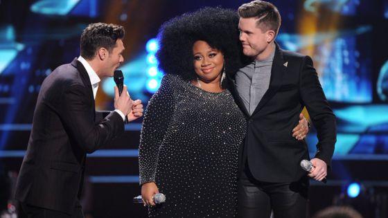 Ryan Seacrest with Idol's Top 2 La'Porsha & Trent