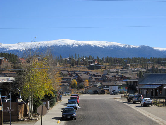 photograph of a mountain town