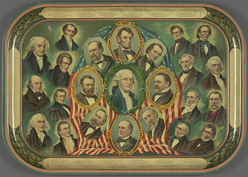 Presidential portrait tray, circa 1897. Courtesy of Cornell University Library