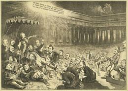 """satirical cartoon """"Our Modern Belshazzar"""" from 1872"""