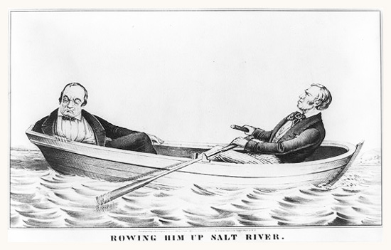 Cartoon showing Zachary Taylor rowing his opponent Lewis Cass up Salt River