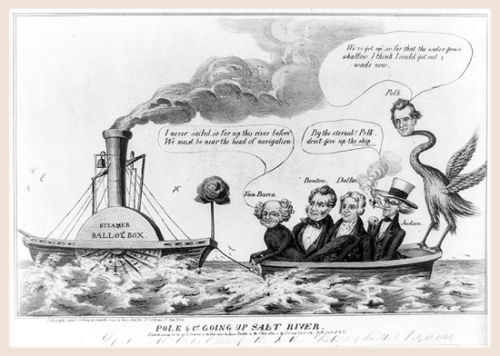Cartoon showing James Polk and his Democratic allies sailing up Salt River