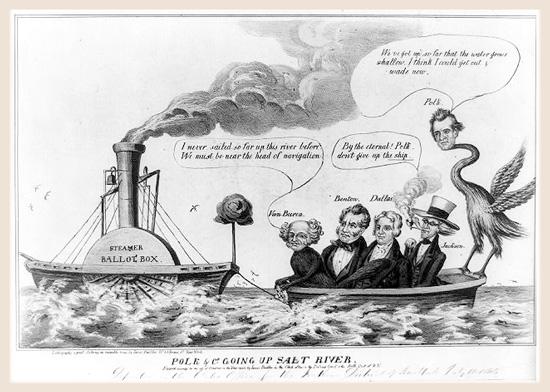 Cartoon showing James Polk and his Democratic allies sailing up Salt River