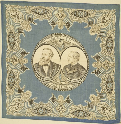 "1888 Political handkerchief with flags and the words ""Protection--Home Industries"""