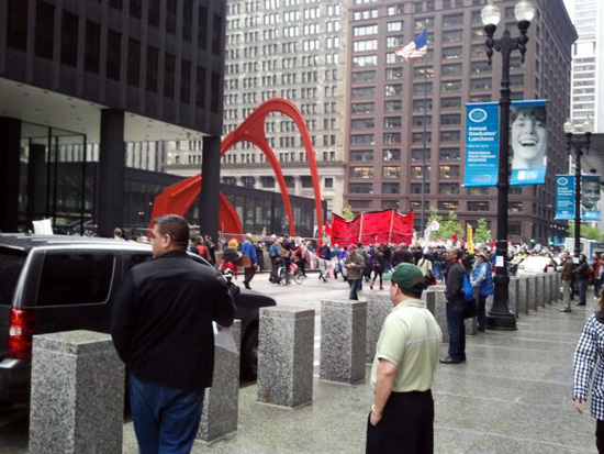 May Day protesters in front of the Dearborn Street Post Office, Chicago (Credit: Susan Barsy)