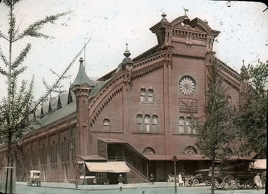Color-tinted photograph of the old North Central Market in the District of Columbia, now demolished