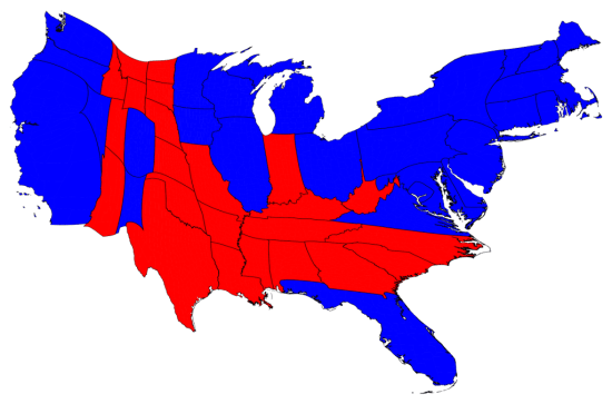 Cartagram by Mark Newman showing the relative strength of the Democratic and Republican vote.