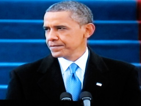 President Obama delivering his inaugural address (Photograph from PBS coverage)