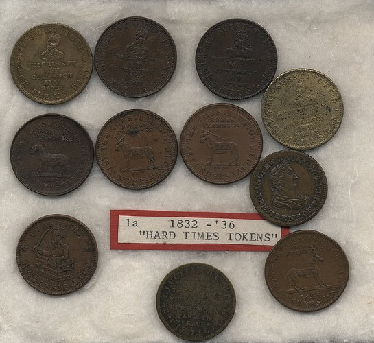 Campaign 'coins' from the 1830s, expressing various views of Andrew Jackson and his monetary policies.  Susan H Douglas Collection of Political Americana, Cornell University Library.