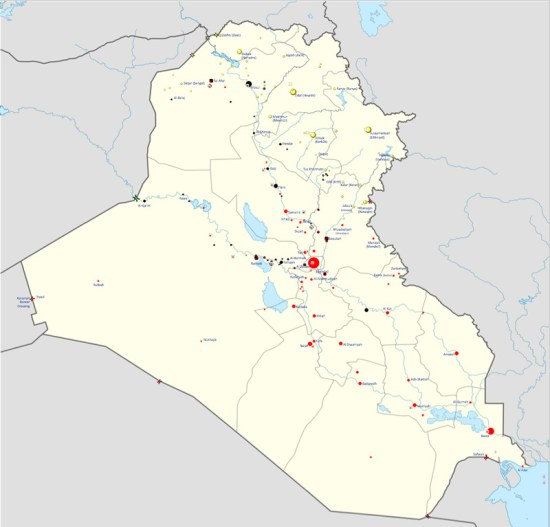Map of Iraq war in progress (Courtesy of Wikipedia)