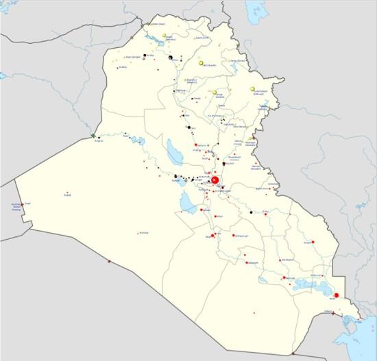 Map of Iraq war in progress (Courtesy of Wikipedia)