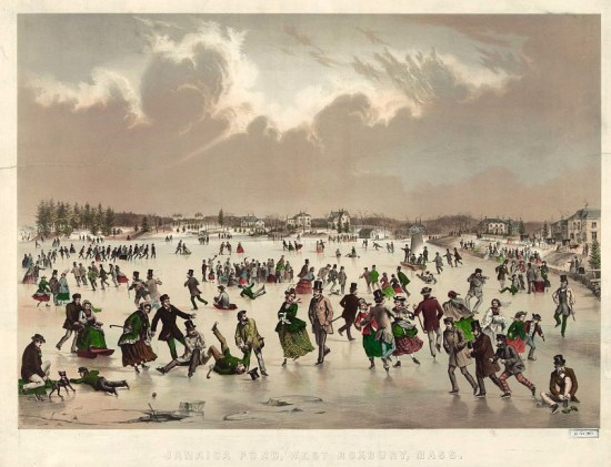 A crowd of men, women, and children skate under a cloudy sky.