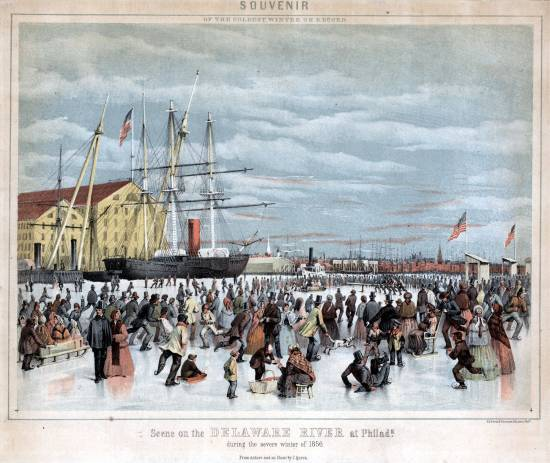 Colorful lithograph showing skaters crowding the ice near the Philadelphia Navy Yard, 1856.