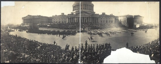 two matched photographic plates showing the scene around the Capitol on inauguration day.