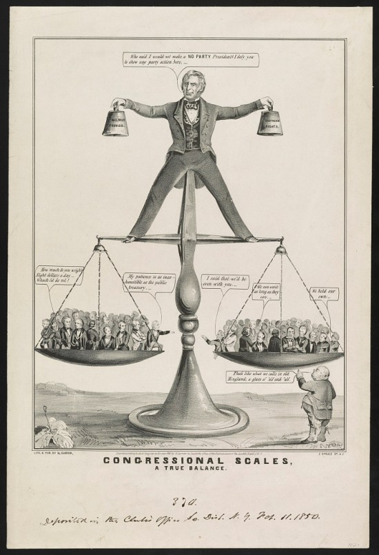 Zachary Taylor uncomfortably balancing atop a scale filled with acrimonious legislators.