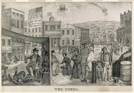 black & white lithograph of a society in distress and disorder