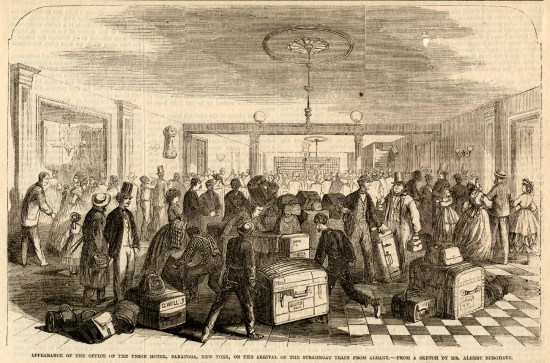 shows crowd arriving at Union Hotel in 1865.