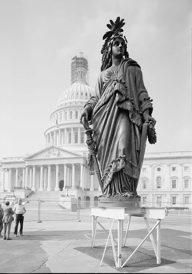 Near view of the statue normally atop the US Capitol dome.