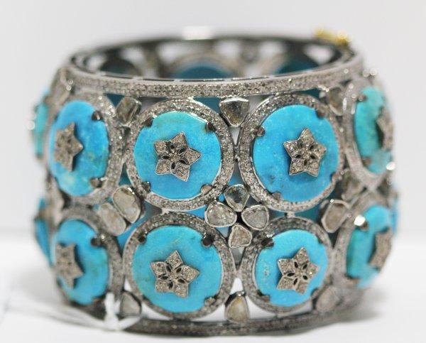 Wide Turquoise Diamond Bracelet closeup