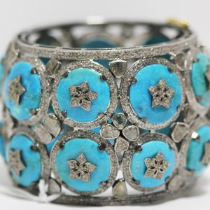 Wide Turquoise Diamond Bracelet closeup