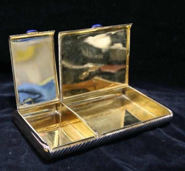 Silver Cigar Cigarette Box all open