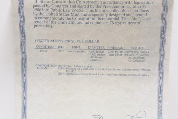 1987s Constitution Silver Dollar spec