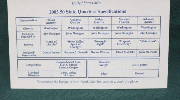 2003-S Proof Coin Set quarter spec