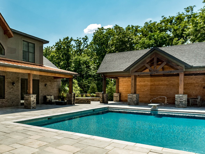 wood pool house
