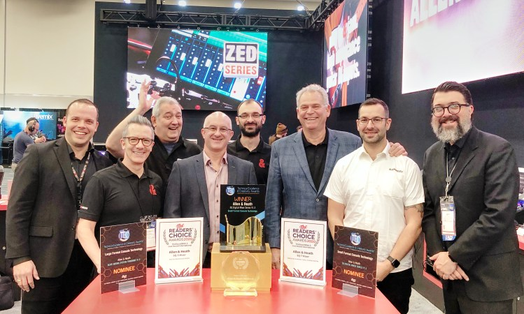 Allen & Heath staff celebrate a number of repeat industry award wins at NAMM 2020, including the NAMM TEC Award for Small Format Console Technology for the hit SQ Series.