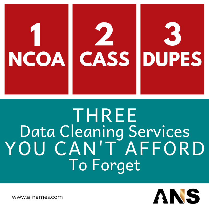 Data Cleansing, NCOA, CASS, Duplicate removal, Direct Mail