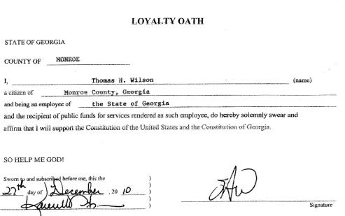 LOYALTY OATH OF JUDGE