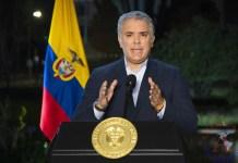Iván Duque durante una declaración este lunes en Bogotá