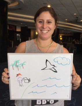 This is Elizabeth Abraham releasing a rehabbed Newell's Shearwater in Hawaii, in a biosketch she drew.