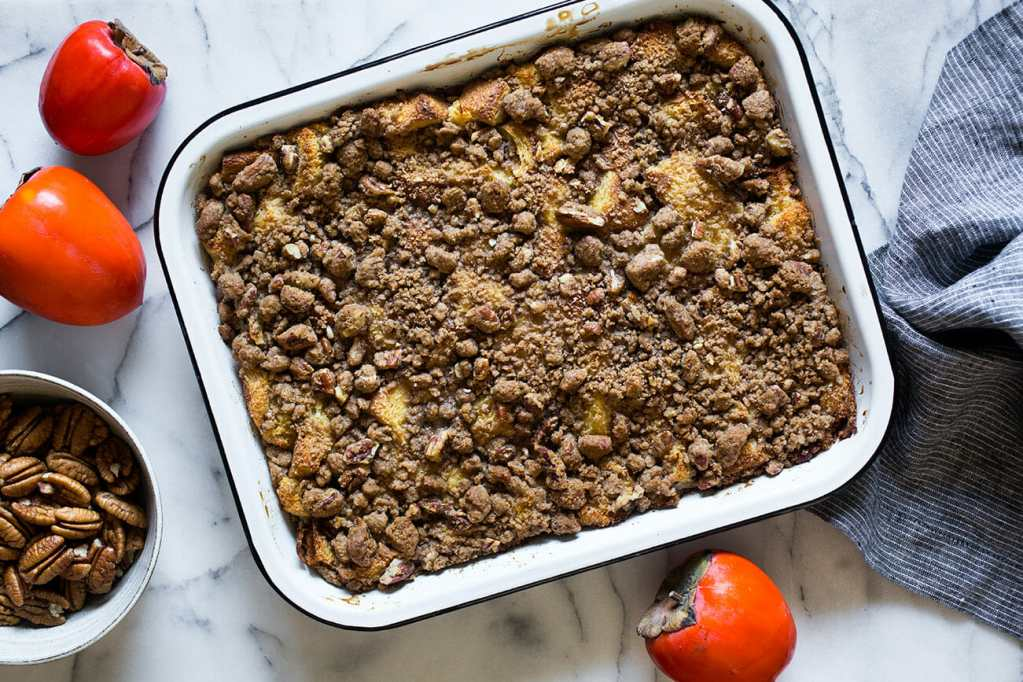Breakfast Bread Pudding with Pecan Crumble