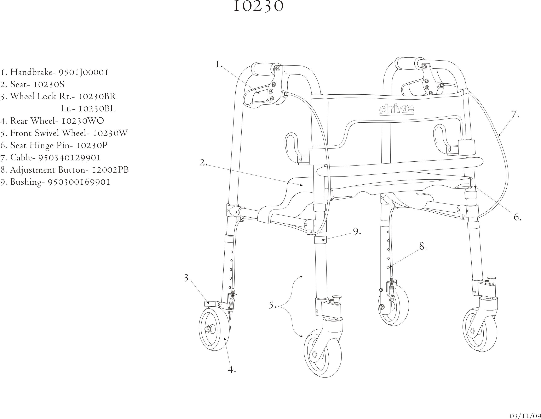 Drive Clever Lite 4 Wheel Rollator Junior W 5 Casters