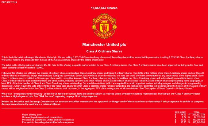 Manchester Uniteds Initial Public Offering Prospectus (Sec.gov)